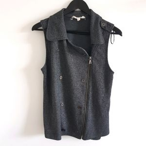 TWO by VINCE CAMUTO Moto Grey Zipper Vest